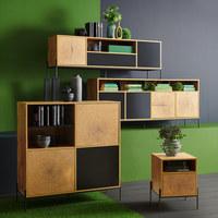 Lowboard in Schwarz, Eichefarben - Eichefarben/Schwarz, Design, Holzwerkstoff/Metall (160/55/40cm) - Carryhome