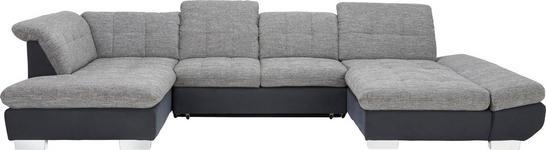 WOHNLANDSCHAFT in Textil Grau, Schwarz - Chromfarben/Schwarz, Design, Kunststoff/Textil (211/350/204cm) - Xora