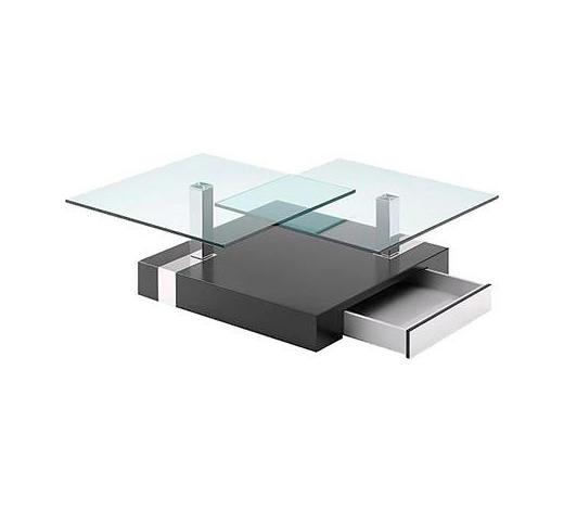 COUCHTISCH in Holz, Metall, Glas 108/93/40 cm - Schwarz, Design, Glas/Holz (108/93/40cm) - Novel