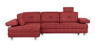 WOHNLANDSCHAFT in Textil Dunkelrot - Chromfarben/Dunkelrot, Design, Textil/Metall (190/288cm) - Hom`in