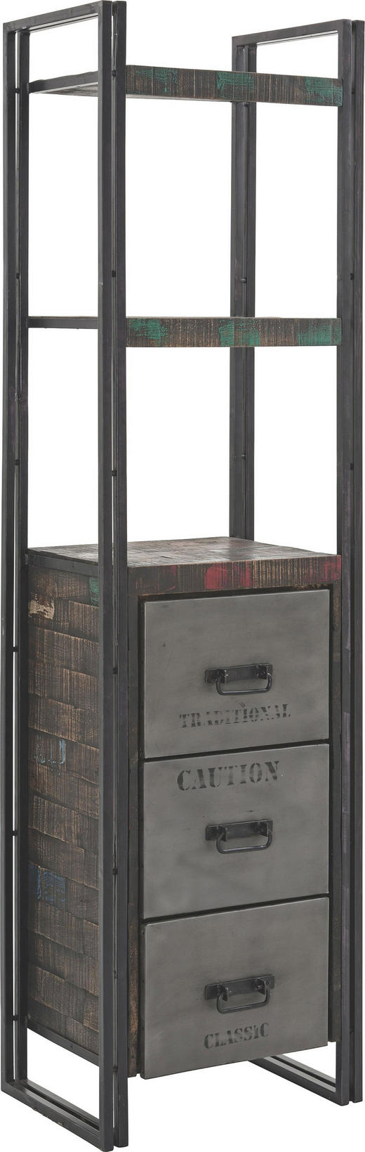 REGÁL - hnědá, Design, kov/dřevo (55/200/40cm)