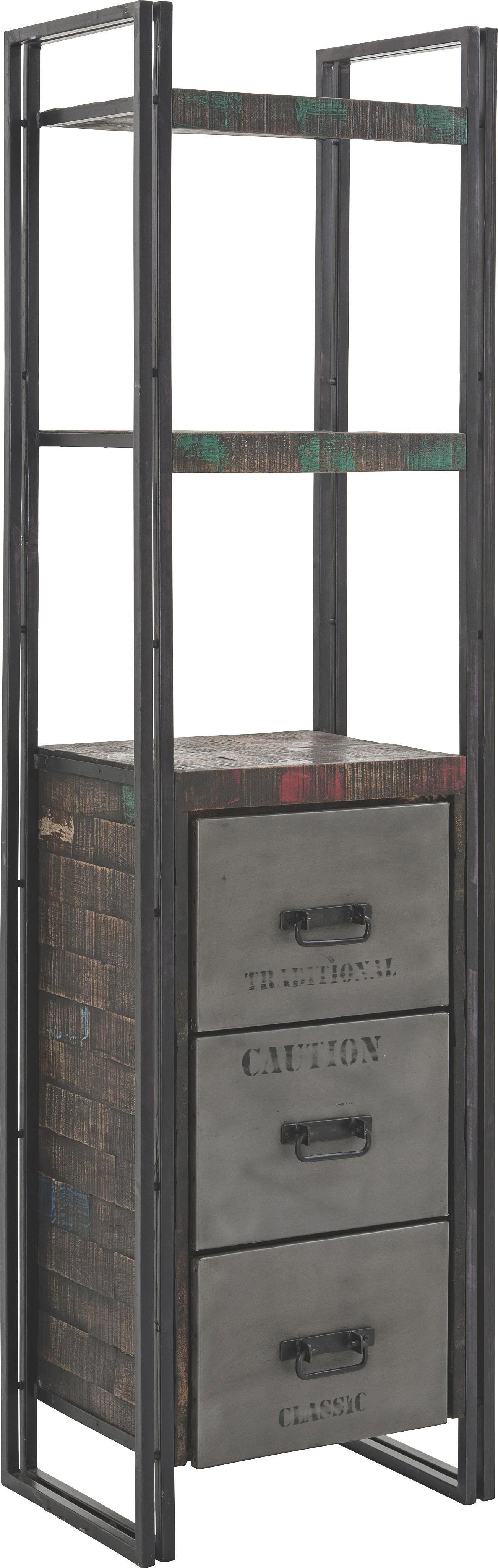 REGAL - smeđa, Design, drvo/metal (55/200/40cm) - AMBIA HOME