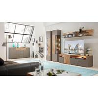 KOMODA LOWBOARD, barvy dubu, šedá - šedá/barvy stříbra, Design, kov/dřevěný materiál (180/56/47cm) - Xora