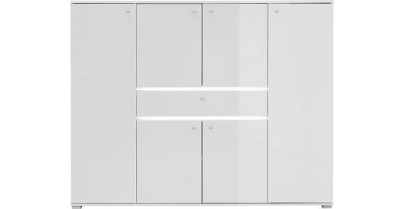 SCHUHSCHRANK 160/127/34 cm - Alufarben/Weiß, Design, Holzwerkstoff/Metall (160/127/34cm) - Voleo