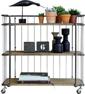 HYLLA - silver/naturfärgad, Design, metall/trä (94/89/41cm) - Ambia Home