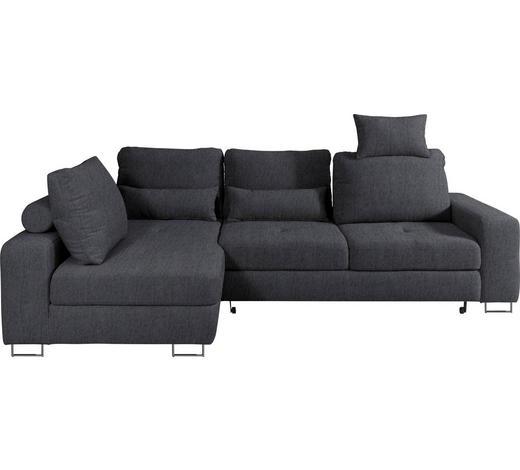 WOHNLANDSCHAFT in Textil Dunkelgrau - Dunkelgrau, Design, Textil/Metall (188/260cm) - Hom`in