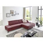 WOHNLANDSCHAFT Bordeaux Echtleder  - Bordeaux/Schwarz, Design, Leder/Metall (316/184cm) - Cantus