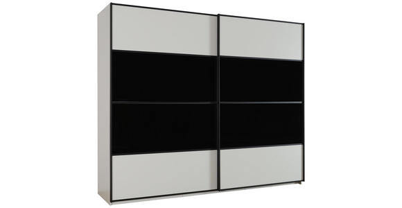 SCHWEBETÜRENSCHRANK in Schwarz, Weiß  - Schwarz/Weiß, KONVENTIONELL, Glas/Holzwerkstoff (340/235/68cm) - Cantus