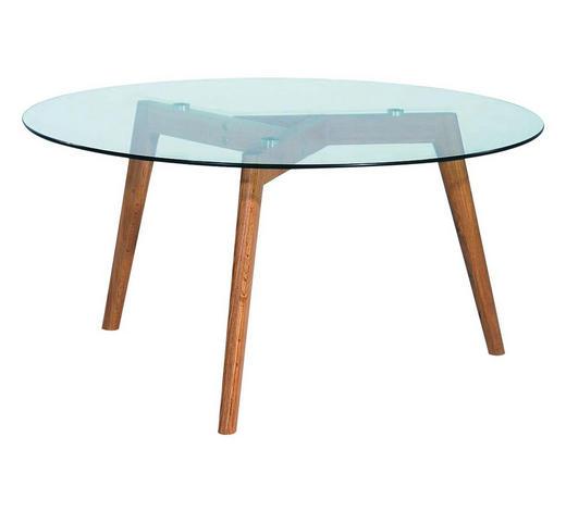 COUCHTISCH Eiche massiv rund Klar, Eichefarben  - Klar/Eichefarben, Design, Glas/Holz (90/90/45cm) - Carryhome