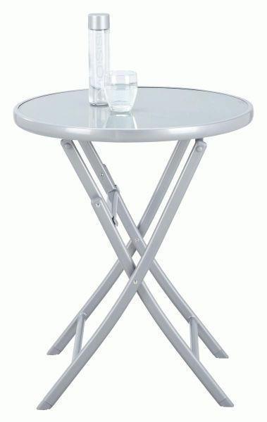 GARTENKLAPPTISCH Glas, Metall Silberfarben - Silberfarben, Trend, Glas/Metall (60/72cm) - AMBIA GARDEN