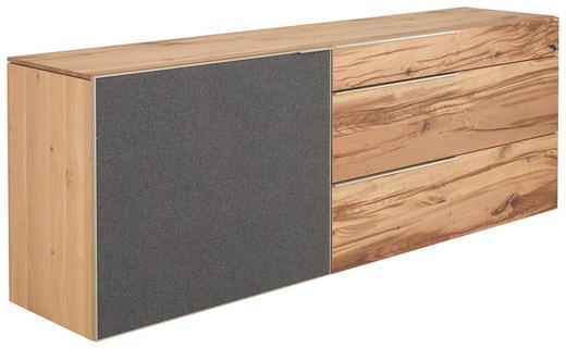 SIDEBOARD Altholz, Eiche mehrschichtige Massivholzplatte (Tischlerplatte) gebürstet, geölt Eichefarben - Eichefarben/Silberfarben, Design, Holz/Textil (224/82/51,6cm) - Voglauer