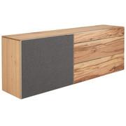 Sideboard in mehrschichtige Massivholzplatte (Tischlerplatte) Altholz, Eiche Eichefarben - Eichefarben/Silberfarben, Natur, Holz/Textil (224/82/51,6cm) - Voglauer