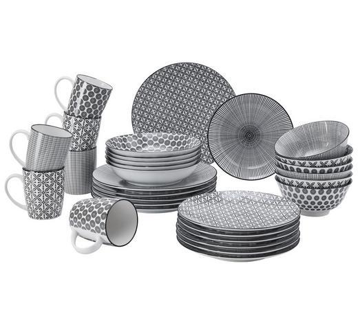 Kombiservice 30-teilig  - Schwarz/Weiß, Lifestyle, Keramik - Ritzenhoff Breker