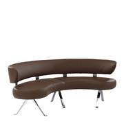 RUNDBANK Echtleder Braun, Chromfarben - Chromfarben/Braun, Design, Leder/Metall (214/84/105cm) - Joop!