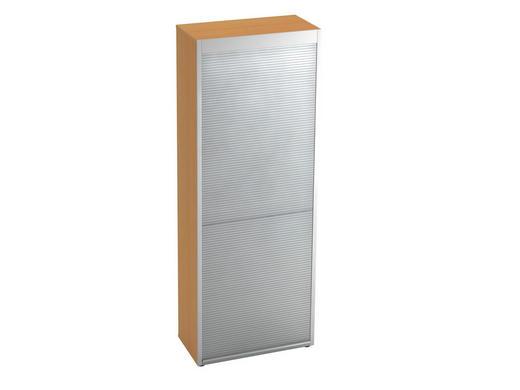 ROLLOSCHRANK - Silberfarben/Buchefarben, KONVENTIONELL, Holzwerkstoff/Kunststoff (80/215,6/42cm)