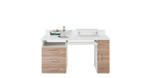 SCHREIBTISCH Eichefarben, Weiß - Eichefarben/Alufarben, Design, Metall (140/87-73,2/78,6cm) - Cantus