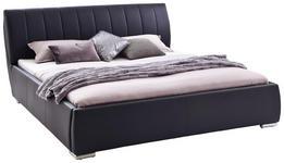 POLSTERBETT 180/200 cm  in Schwarz  - Chromfarben/Schwarz, Design, Holz/Textil (180/200cm) - Xora