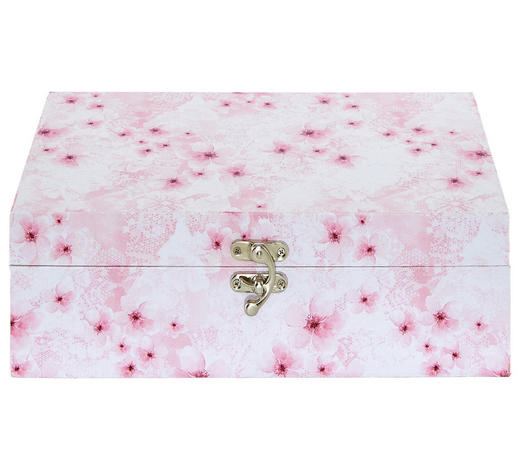 DEKOBOX 34,3/20/10,8 cm - Pink/Weiß, Trend, Holzwerkstoff/Metall (34,3/20/10,8cm) - Ambia Home