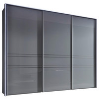 SCHWEBETÜRENSCHRANK in Hellgrau - Hellgrau/Alufarben, KONVENTIONELL, Glas/Holzwerkstoff (298/240/68cm) - Moderano