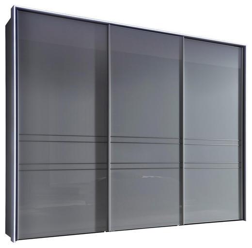 SCHWEBETÜRENSCHRANK in Hellgrau - Hellgrau/Alufarben, KONVENTIONELL, Glas/Holzwerkstoff (280/222/68cm) - Moderano