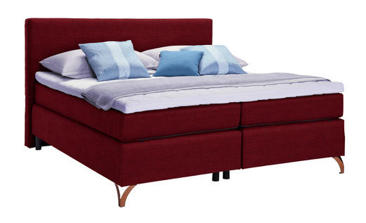 BOXSPRINGBETT 180/200 cm  in Rot - Rot/Kupferfarben, KONVENTIONELL, Textil/Metall (180/200cm) - Esposa
