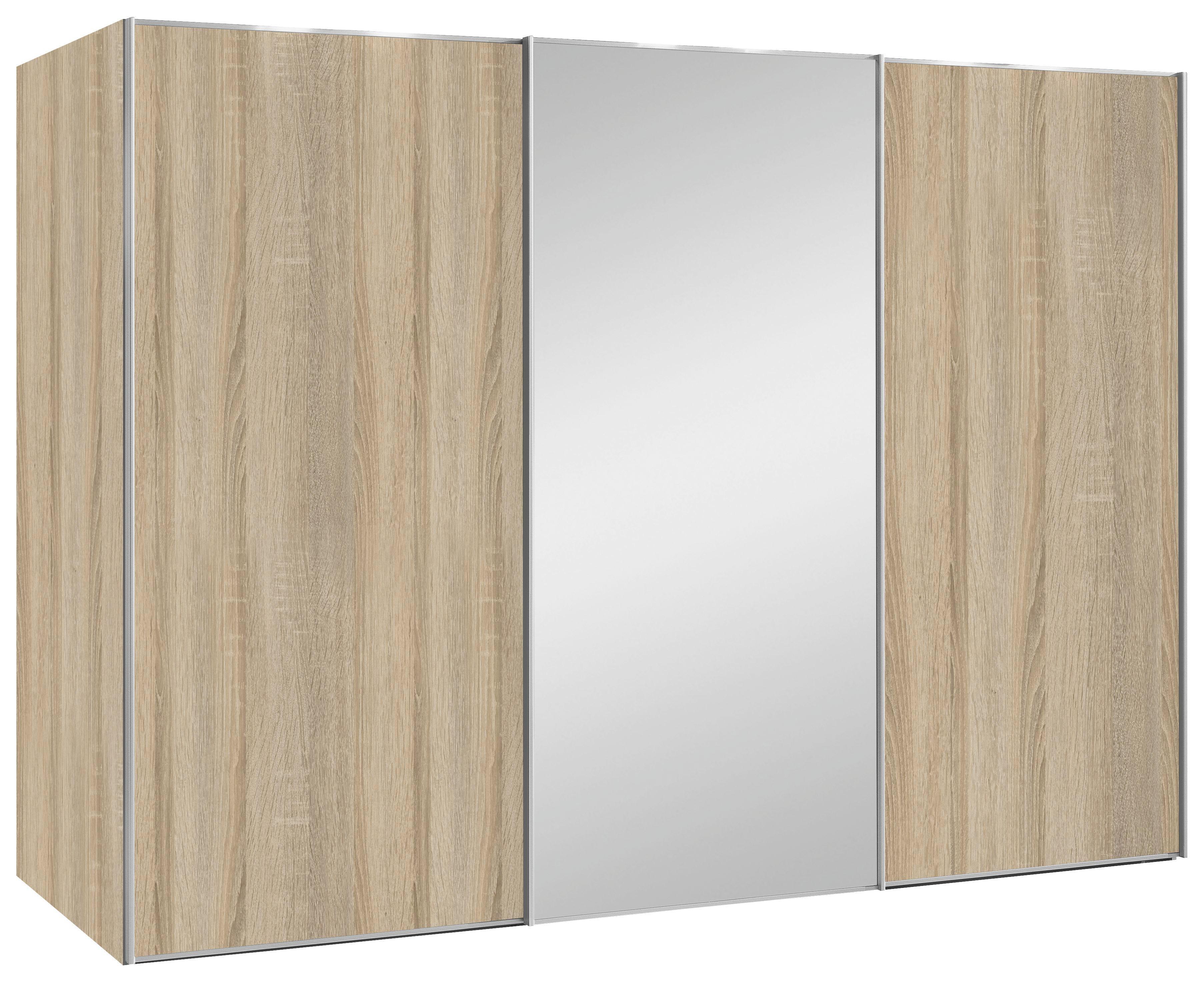SCHWEBETÜRENSCHRANK 3  -türig Sonoma Eiche - Alufarben/Sonoma Eiche, Design, Glas/Holzwerkstoff (280/222/68cm) - MODERANO