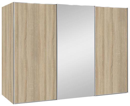 SCHWEBETÜRENSCHRANK 3-türig Sonoma Eiche - Alufarben/Sonoma Eiche, Design, Glas/Holzwerkstoff (280/222/68cm) - Moderano