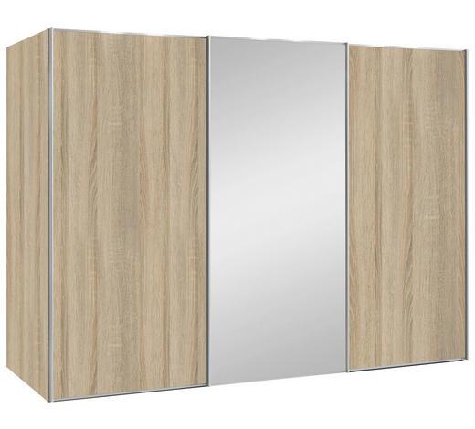 SCHWEBETÜRENSCHRANK in Sonoma Eiche - Alufarben/Sonoma Eiche, Design, Glas/Holzwerkstoff (280/222/68cm) - Moderano
