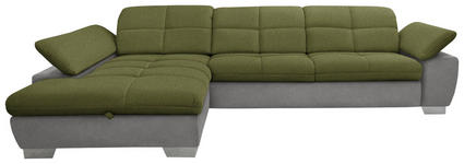 WOHNLANDSCHAFT in Textil Grau, Grün - Chromfarben/Grau, Design, Textil/Metall (204/297cm) - Xora