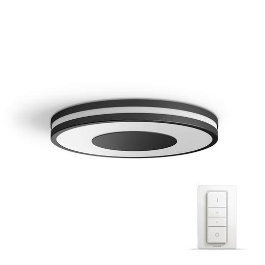 DECKENLEUC. HUE WHITE AMBIANCE - Schwarz, Design, Glas/Kunststoff (35/5/35cm) - Philips