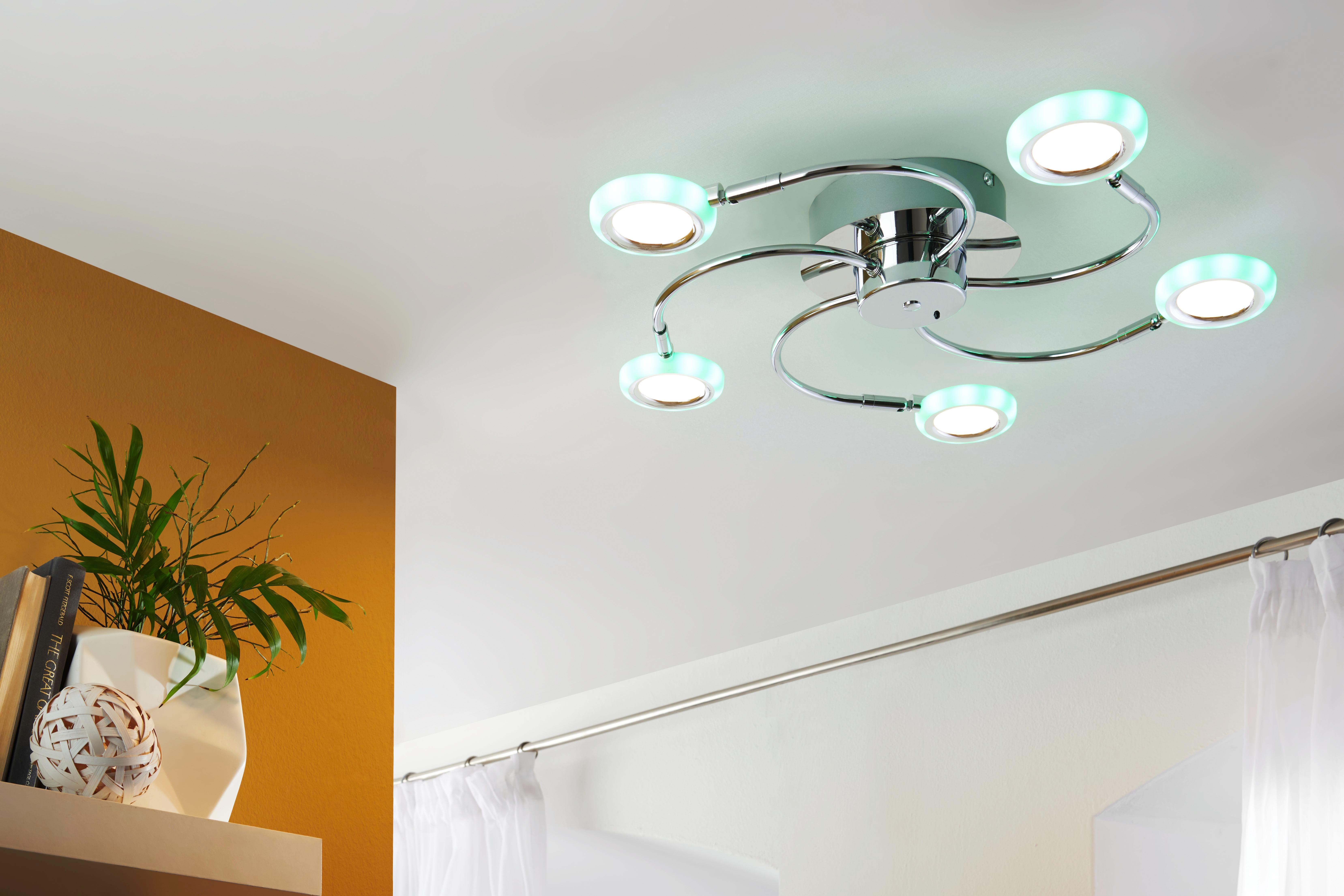 LED-DECKENLEUCHTE - Chromfarben, LIFESTYLE, Metall (63/8,0cm) - NOVEL