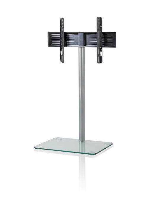 TV-RACK Glas, Metall Klar, Silberfarben - Klar/Silberfarben, KONVENTIONELL, Glas/Metall (95/60/45cm)