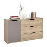 KOMODA SIDEBOARD - barvy dubu/tmavě šedá, Design, kompozitní dřevo (148/83/41cm) - Hom`in