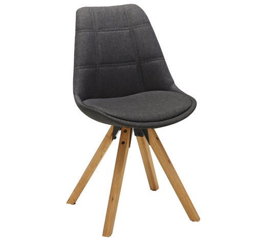 STUHL Webstoff Eichefarben, Dunkelgrau  - Eichefarben/Dunkelgrau, Design, Holz/Textil (49/87,5/56cm) - Carryhome