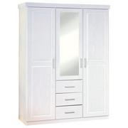 DREHTÜRENSCHRANK 3-türig Kiefer massiv Weiß  - Silberfarben/Weiß, LIFESTYLE, Holz/Kunststoff (140/190/55cm) - Carryhome