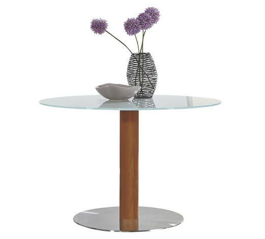 ESSTISCH in Holz, Metall, Glas  65/77 cm  - Edelstahlfarben/Eichefarben, Design, Glas/Holz (65/77cm) - Dieter Knoll