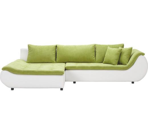 WOHNLANDSCHAFT in Textil Grün, Weiß  - Schwarz/Weiß, Design, Kunststoff/Textil (185/310cm) - Carryhome