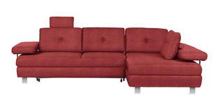 WOHNLANDSCHAFT in Textil Dunkelrot - Chromfarben/Dunkelrot, Design, Textil/Metall (288/190cm) - Hom`in