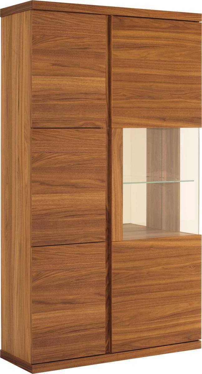 VITRINE Amerikanischer Nussbaum furniert Nussbaumfarben - Nussbaumfarben/Schwarz, Design, Glas/Holz (115/206/43cm) - VENJAKOB