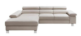 WOHNLANDSCHAFT in Leder Beige  - Chromfarben/Beige, Design, Leder/Metall (198/276cm) - Venda