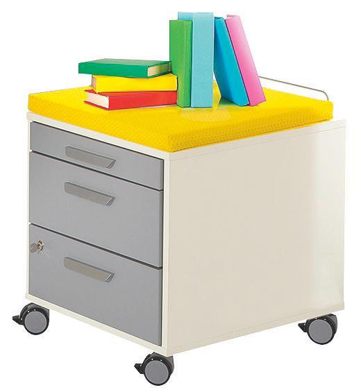 ROLLCONTAINER Gelb, Silberfarben, Weiß - Gelb/Silberfarben, Design, Kunststoff/Textil (44,4/51,2/54,7cm) - Paidi