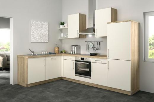 Eckküche ohne E-Geräte - Eichefarben/Magnolie, Design (185/285cm) - Set one by Musterrin