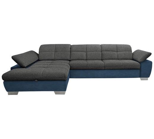 WOHNLANDSCHAFT in Textil Blau, Grau - Chromfarben/Blau, Design, Textil/Metall (204/297cm) - Xora