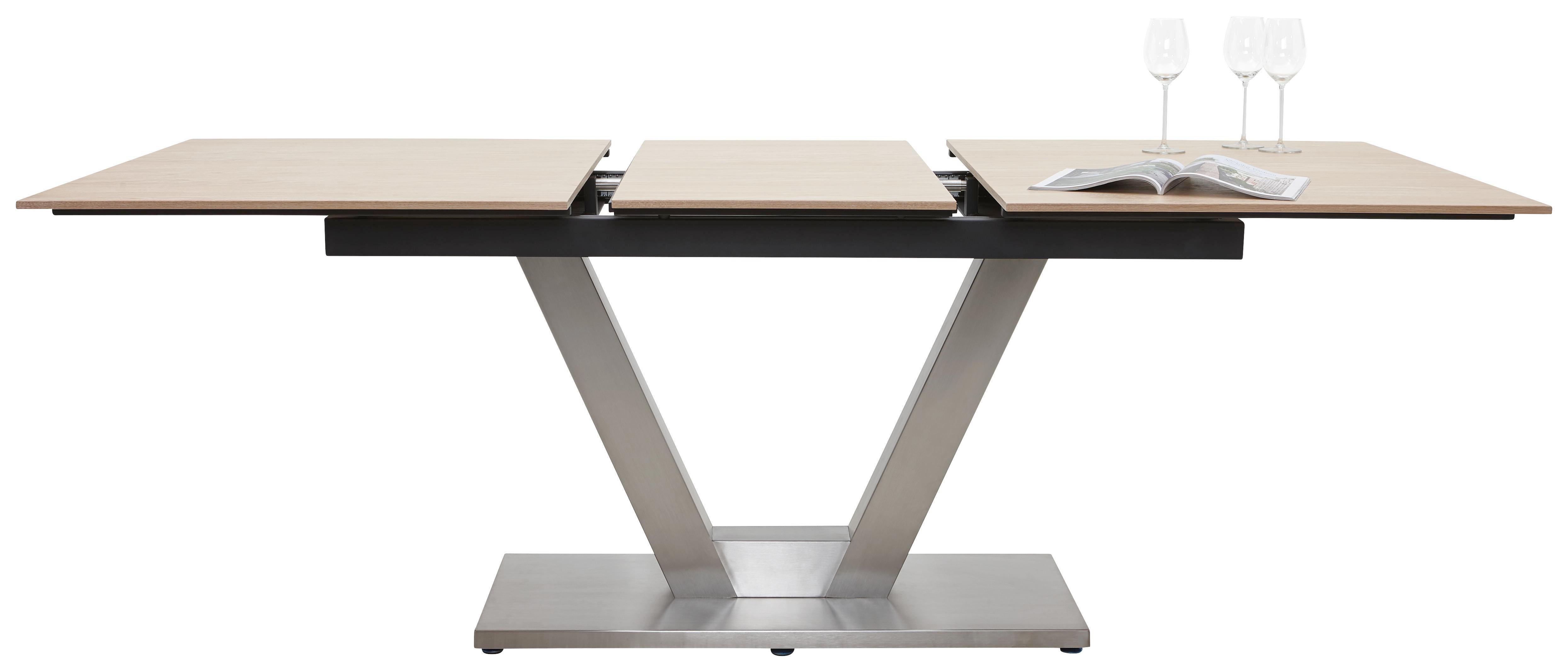 ESSTISCH Eiche furniert rechteckig Edelstahlfarben, Eichefarben - Edelstahlfarben/Eichefarben, Design, Holz/Metall (160(210)/100/77cm) - DIETER KNOLL