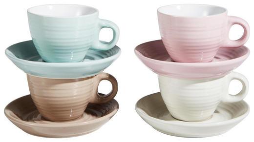 TASSENSET 8-teilig Keramik Porzellan Beige, Braun, Rosa, Türkis - Türkis/Beige, Design, Keramik (0,05l)