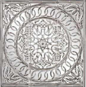SPEGEL - vit/grå, Trend, glas/träbaserade material (120/120/2,5cm) - Ambia Home