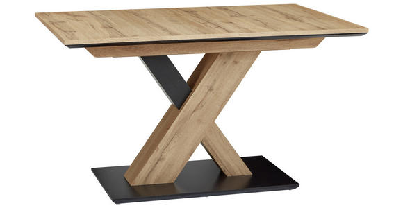 ESSTISCH in Holzwerkstoff 130/85/75,5 cm  - Eichefarben/Schwarz, Design, Holzwerkstoff (130/85/75,5cm) - Cantus