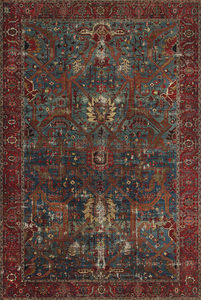 RETRO TEPIH - Crvena/Plava, Lajfstajl, Tekstil (190/290cm) - Novel