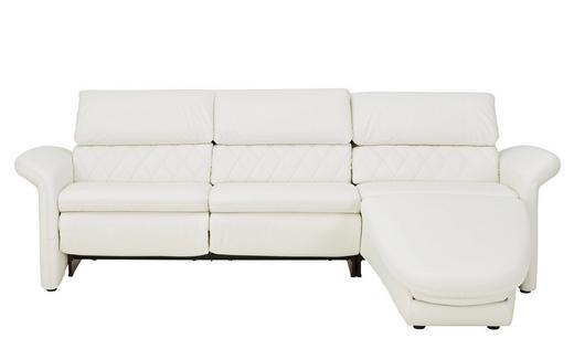 WOHNLANDSCHAFT Echtleder Rücken echt, Sitztiefenverstellung - Schwarz/Weiß, Design, Leder/Kunststoff (248/158cm) - Venda