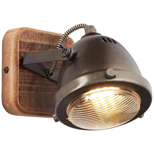 WANDLEUCHTE - Braun, Trend, Holz/Metall (12,5/12/9cm)